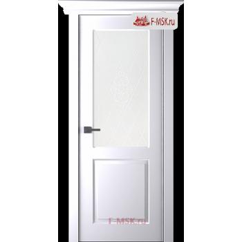 Межкомнатная дверь Альта (остекленная), Эмаль белый, Стекло: Мателюкс белый кристалайз рис. 34, 2000х600 Belwooddoors (Товар № ZF125565)