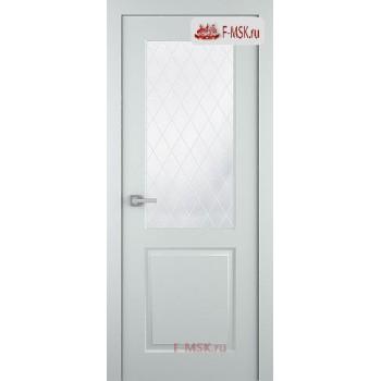 Межкомнатная дверь Альта (остекленная), Эмаль светло - серый, Стекло: Мателюкс белый витраж рис. 39, 2000х900 Belwooddoors (Товар № ZF125601)