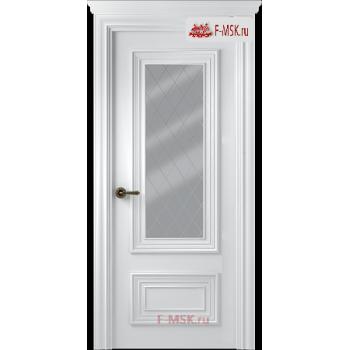 Межкомнатная дверь Палаццо 2 (остекленное), Эмаль белый, Стекло: Мателюкс белый витраж рис. 39, 2000х800 Belwooddoors (Товар № ZF126293)