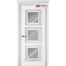 Межкомнатная дверь Палаццо 3 (остекленное), Эмаль белый патина серебро, Стекло: Зеркало, 2000х900 Belwooddoors (Товар № ZF126317)