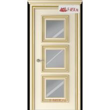 Межкомнатная дверь Палаццо 3 (остекленное), Эмаль слоновая кость патина золото, Стекло: Зеркало, 2000х900 Belwooddoors (Товар № ZF126341)