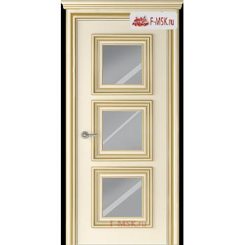 Межкомнатная дверь Палаццо 3 (остекленное), Эмаль слоновая кость патина золото, Стекло: Зеркало, 2000х600 Belwooddoors (Товар № ZF126345)