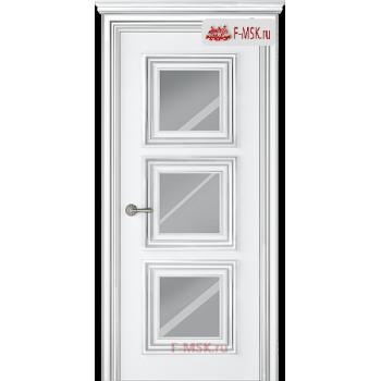 Межкомнатная дверь Палаццо 3 (остекленное), Эмаль белый патина серебро, Стекло: Зеркало, 2000х800 Belwooddoors (Товар № ZF126349)