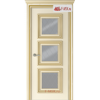 Межкомнатная дверь Палаццо 3 (остекленное), Эмаль слоновая кость патина золото, Стекло: Мателюкс белый витраж рис. 39, 2000х700 Belwooddoors (Товар № ZF126357)