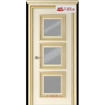 Межкомнатная дверь Палаццо 3 (остекленное), Эмаль слоновая кость патина золото, Стекло: Мателюкс белый витраж рис. 39, 2000х900 Belwooddoors (Товар № ZF126373)