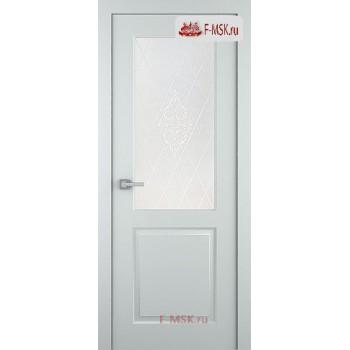 Межкомнатная дверь Альта (остекленная), Эмаль светло - серый, Стекло: Мателюкс белый витраж рис. 34, 2000х900 Belwooddoors (Товар № ZF125609)