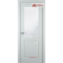 Межкомнатная дверь Альта (остекленная), Эмаль светло - серый, Стекло: Мателюкс белый витраж рис. 39, 2000х600 Belwooddoors (Товар № ZF125633)