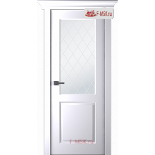 Межкомнатная дверь Альта (остекленная), Эмаль белый, Стекло: Мателюкс белый витраж рис. 39, 2000х800 Belwooddoors Уцененная