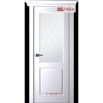 Межкомнатная дверь Альта (остекленная), Эмаль белый, Стекло: Мателюкс белый витраж рис. 39, 2000х800 Belwooddoors (Товар № ZF125569)