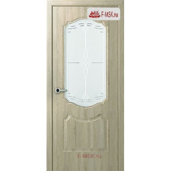 Межкомнатная дверь Перфекта (остекленное), Дуб дорато, Стекло: Мателюкс белый витраж рис. 36, 2000х600 Belwooddoors (Товар № ZF125741)