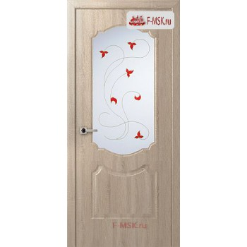 Межкомнатная дверь Перфекта (остекленное), Дуб дорато, Стекло: Мателюкс белый витраж рис. 14, 2000х800 Belwooddoors (Товар № ZF125753)