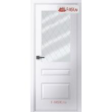 Межкомнатная дверь Роялти (остекленное), Эмаль белый, Стекло: Мателюкс белый витраж рис. 39, 2000х700 Belwooddoors (Товар № ZF59232)
