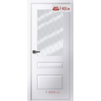 Межкомнатная дверь Роялти (остекленное), Эмаль белый, Стекло: Мателюкс белый витраж рис. 39, 2000х600 Belwooddoors (Товар № ZF59248)