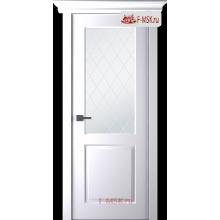 Межкомнатная дверь Альта (остекленная), Эмаль белый, Стекло: Мателюкс белый витраж рис. 39, 2000х900 Belwooddoors (Товар № ZF59035)