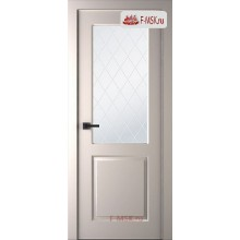 Межкомнатная дверь Альта (остекленная), Эмаль слоновая кость, Стекло: Мателюкс белый витраж рис. 39, 2000х800 Belwooddoors (Товар № ZF125597)