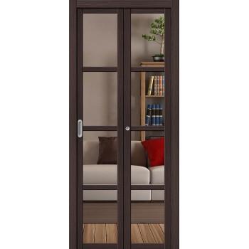 Складная дверь с Эко шпоном Твигги V4 Crystalline Wenge Veralinga el`PORTA  (Товар №  ZF16369)