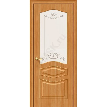 Межкомнатная дверь с ПВХ-пленкой Модена ПО, миланский орех BRAVO Цвет: Миланский орех Остекленная худ. (Товар №  ZF4224)