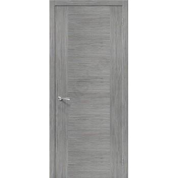 Межкомнатная шпонированная дверь Рондо ПГ серый дуб BRAVO Цвет: Серый дуб Глухая (Товар №  ZF4229)