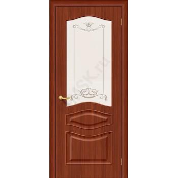 Межкомнатная дверь с ПВХ-пленкой Модена ПО, итальянский орех BRAVO Цвет: Итальянский орех Остекленная худ. (Товар №  ZF4255)