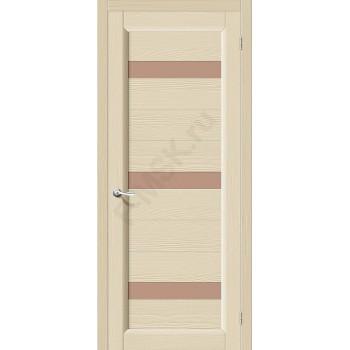 Межкомнатная дверь из Массива Леон ПЧО Ваниль Vi LARIO Цвет: Ваниль Остекленная (Товар №  ZF4283)