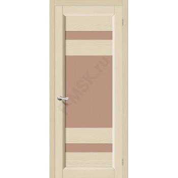Межкомнатная дверь из Массива Леон ПО Ваниль Vi LARIO Цвет: Ваниль Остекленная (Товар №  ZF4284)