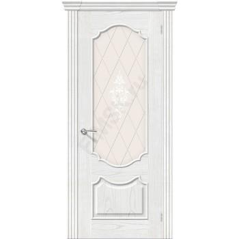Межкомнатная шпонированная дверь Париж ПО Жемчуг BRAVO Люкс Цвет: Жемчуг Остекленная худ. (Товар №  ZF8979)