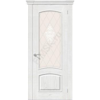 Межкомнатная шпонированная дверь Амальфи ПО Жемчуг BRAVO Люкс Цвет: Жемчуг Остекленная худ. (Товар №  ZF8980)