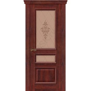 Межкомнатная шпонированная дверь Вена ПО Красное дерево BRAVO Люкс Цвет: Красное дерево Остекленная худ. (Товар №  ZF8981)