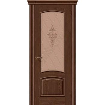 Межкомнатная шпонированная дверь Амальфи ПО Виски BRAVO Люкс Цвет: Виски Остекленная худ. (Товар №  ZF8976)