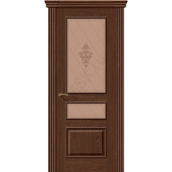 Межкомнатная шпонированная дверь Сорренто ПО Виски BRAVO Люкс Цвет: Виски Остекленная худ. (Товар №  ZF8977)