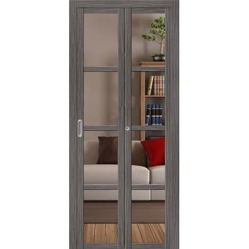 Складная дверь с Эко шпоном Твигги V4 Crystalline Grey Veralinga el`PORTA  (Товар №  ZF16373)