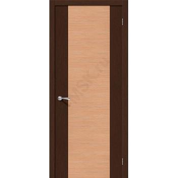 Межкомнатная шпонированная дверь Этюд ПГ Венге/Дуб BRAVO Цвет: Дуб, Венге Глухая (Товар №  ZF10554)