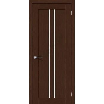 Межкомнатная шпонированная дверь Евро-14 ПО Венге BRAVO Цвет: Венге Остекленная (Товар №  ZF10582)
