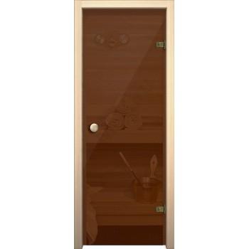 Дверь для бани и сауны Кноб Е Бронза тонированное BRAVO  Стеклянная (Товар №  ZF10597)
