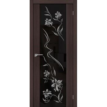 Межкомнатная дверь с Эко шпоном S-13 Print Wenge Veralinga BRAVO Цвет: Wenge Veralinga Остекленная худ. (Товар №  ZF10619)