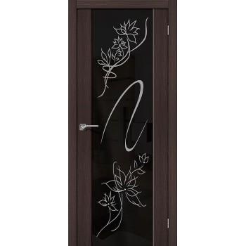 Межкомнатная дверь с Эко шпоном S-13 Stamp Wenge Veralinga BRAVO Цвет: Wenge Veralinga Остекленная худ. (Товар №  ZF10618)