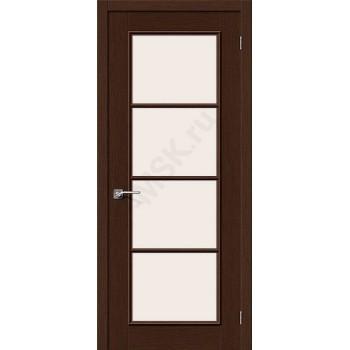 Межкомнатная шпонированная дверь Евро-41 ПО Венге BRAVO Цвет: Венге Остекленная (Товар №  ZF10609)