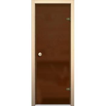 Дверь для бани и сауны Кноб Е Бронза Сатинато BRAVO  Стеклянная (Товар №  ZF10629)