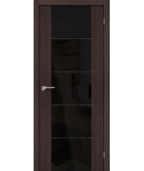 Межкомнатная дверь с Эко шпоном V4 Wenge Veralinga Black Star el`PORTA Цвет: Wenge Veralinga Остекленная (Товар №  ZF10627)