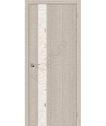 Межкомнатная дверь с эко шпоном Порта-51 Cappuccino Crosscut el`PORTA Цвет: Cappuccino Crosscut С зеркалом (Товар №  ZF19542)