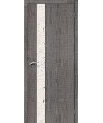 Межкомнатная дверь с эко шпоном Порта-51 Grey Crosscut el`PORTA Цвет: Grey Crosscut С зеркалом (Товар №  ZF19545)