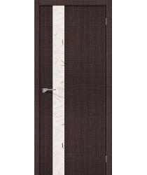 Межкомнатная дверь с эко шпоном Порта-51 Wenge Crosscut el`PORTA Цвет: Wenge Crosscut С зеркалом (Товар №  ZF19546)