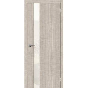 Межкомнатная дверь с эко шпоном Порта-51 WP Cappuccino Crosscut el`PORTA Цвет: Cappuccino Crosscut С зеркалом (Товар №  ZF19544)