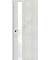 Межкомнатная дверь с эко шпоном Порта-51 WW Bianco Crosscut el`PORTA Цвет: Bianco Crosscut С зеркалом (Товар №  ZF19541)