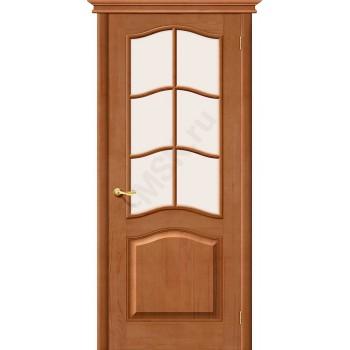 М7 ПО с белым сатинированным стеклом, светлый Лак Белорусские двери Цвет: Светлый лак Остекленная (Товар №  ZF19556)