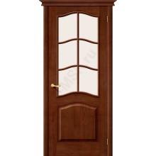 М7 ПО с белым сатинированным стеклом, темный лак Белорусские двери Цвет: Темный лак Остекленная раскл. (Товар №  ZF19557)