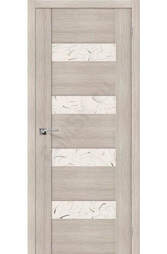 Межкомнатная дверь с Эко шпоном VM4 Cappuccino Veralinga Silver Art el`PORTA Цвет: Cappuccino Veralinga Остекленная (Товар №  ZF20095)