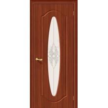 Межкомнатная дверь с ПВХ-пленкой Орбита Плюс ПО, итальянский орех BRAVO Цвет: Итальянский орех Остекленная худ. (Товар №  ZF20109)