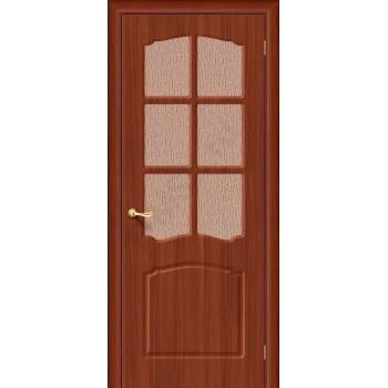 Межкомнатная дверь с ПВХ-пленкой Альфа ПО, итальянский орех ГРАДВЕРЬ Цвет: Итальянский орех Остекленная (Товар №  ZF1063)