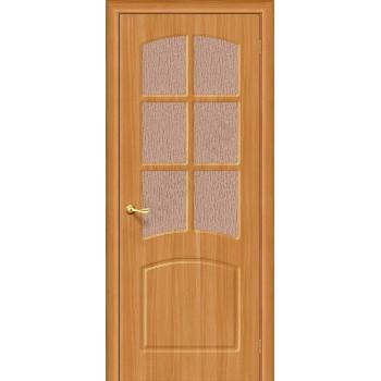 Межкомнатная дверь с ПВХ-пленкой Кэролл ПО, миланский орех BRAVO Цвет: Миланский орех Остекленная (Товар №  ZF1066)
